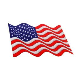 "2 3/4"" x 1 5/8"" DigiPrint American Waving Flag Patch"