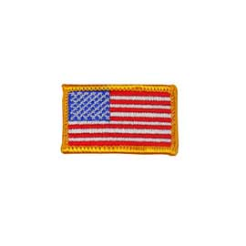 "2"" x 1 1/8"" Embroidered American Flag Patch - Gold Border"