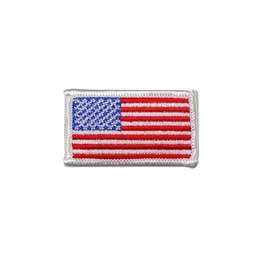 "2"" x 1 1/8"" Embroidered American Flag Patch - White Border"