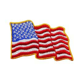 "2"" x 2 3/4"" Embroidered Waving American Flag"