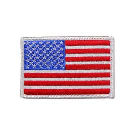 "2"" x 3"" Embroidered American Flag Patch - White Border"
