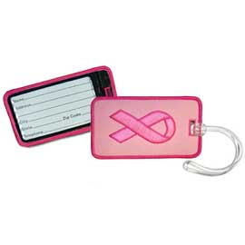 Embroidered Pink Ribbon Luggage Tag