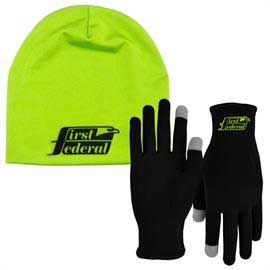 Runners Text Gloves and Performance Beanie Cap Combo