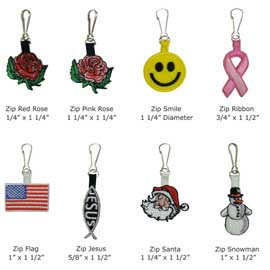 Stock Embroidered Zipper Pulls
